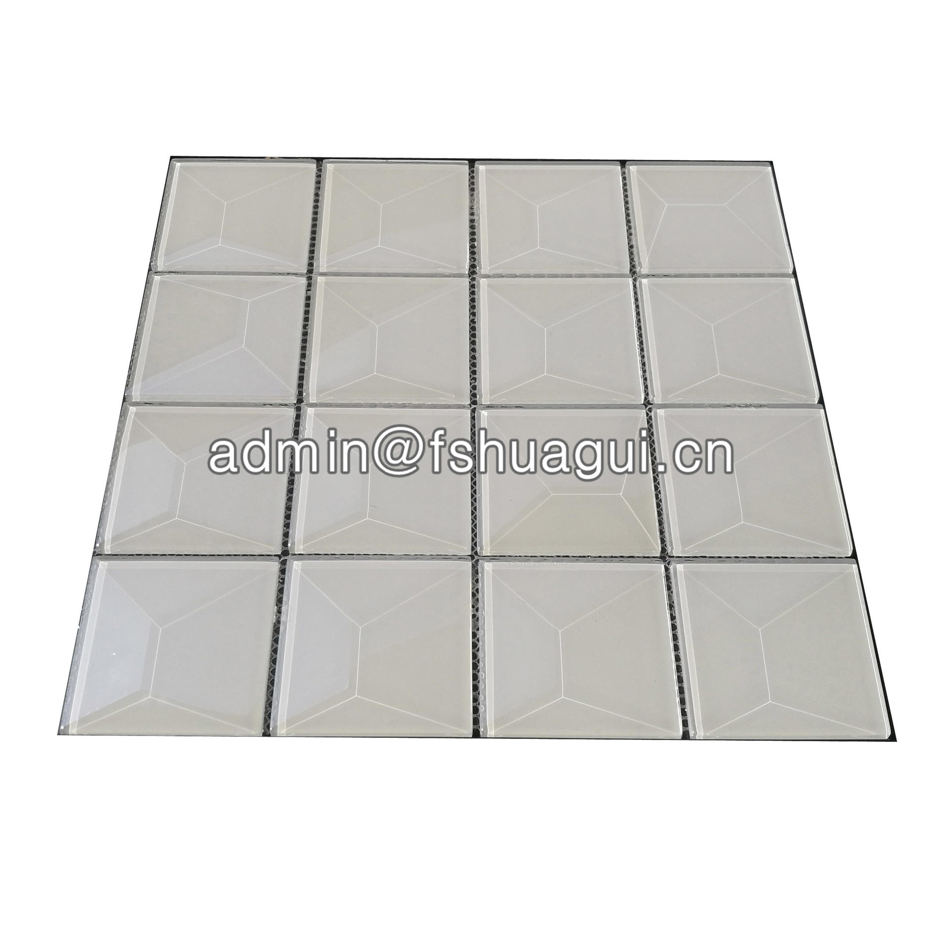 Popular 3 inch pure snow white beveled glass tile