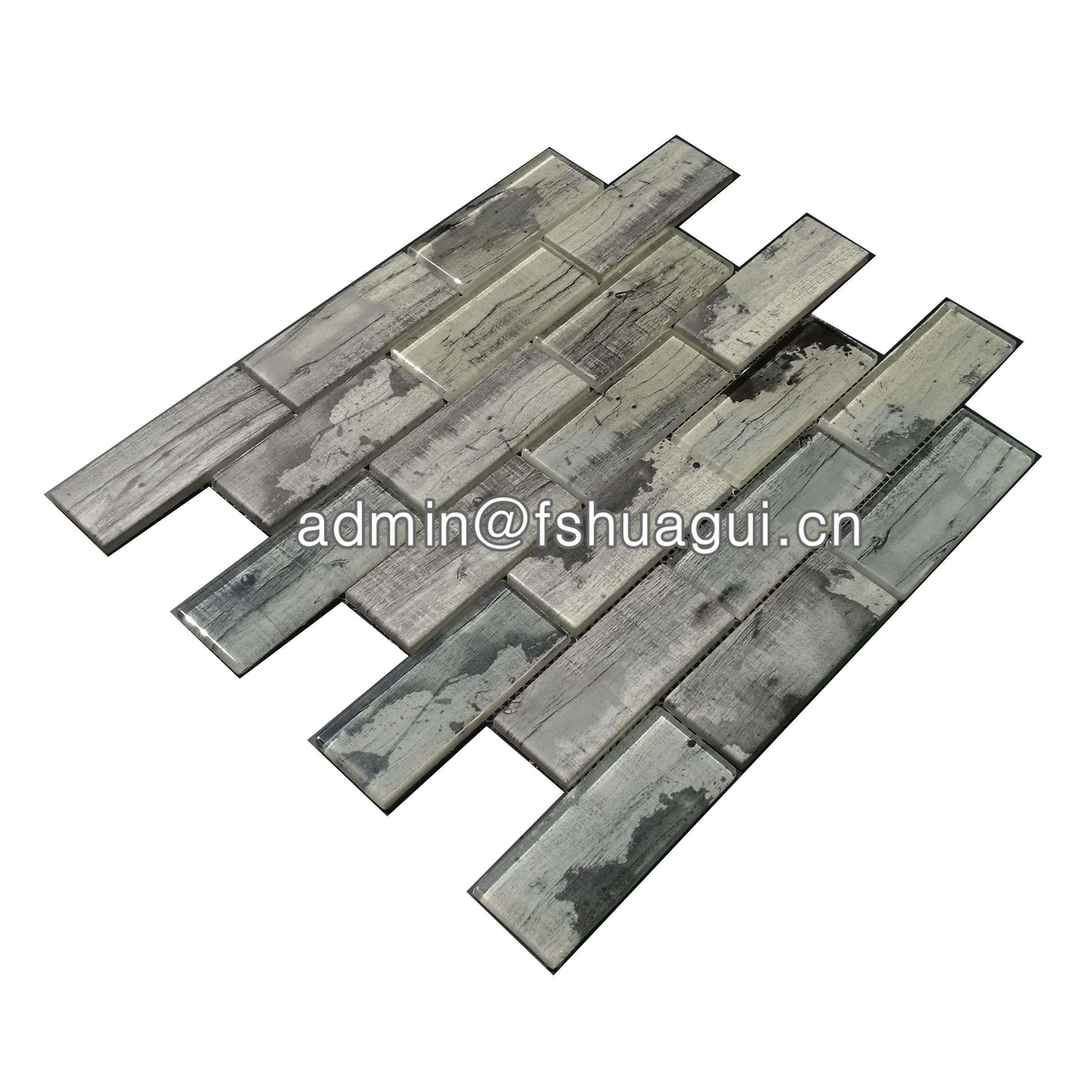 Huagui Grey inkjet brick glass subway tile around fireplace  HG-WJ413 GLASS SUBWAY TILE image2