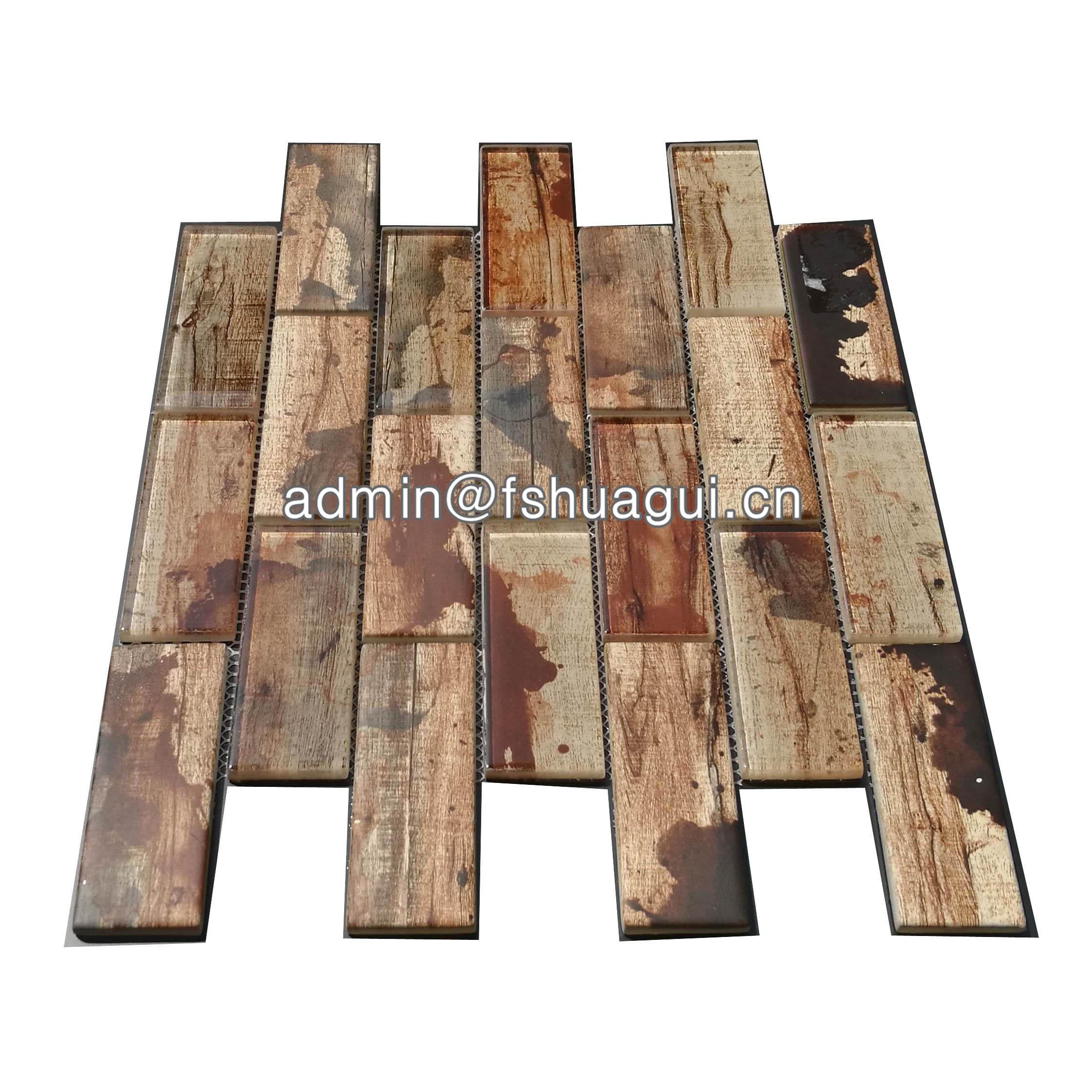 Huagui Inkjet glass mosaic kitchen backsplash tiles canada HG-WJ411 GLASS SUBWAY TILE image3
