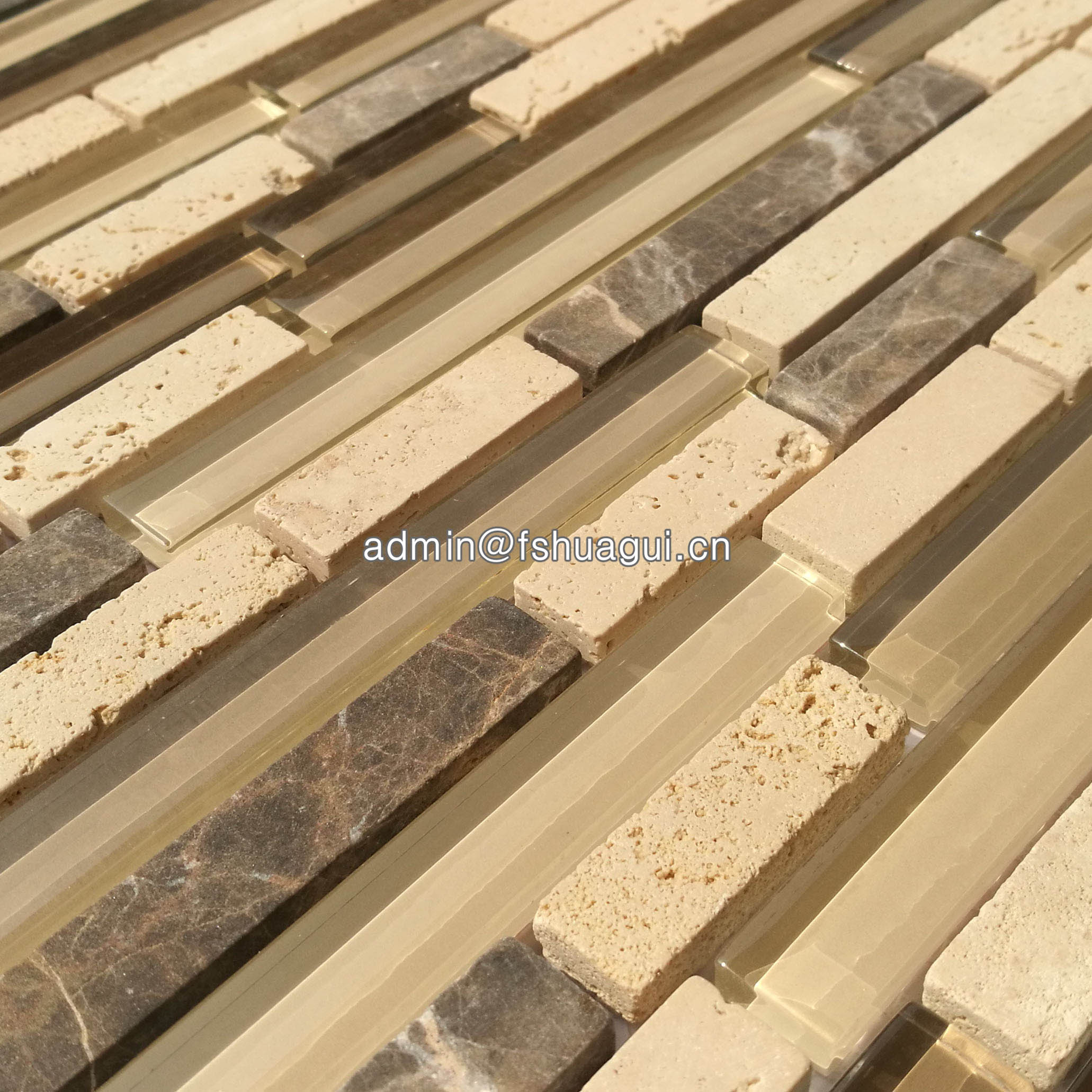 Huagui Brown glass stone mosaic tile  HG-CDT815002 STONE MOSAIC TILE image2
