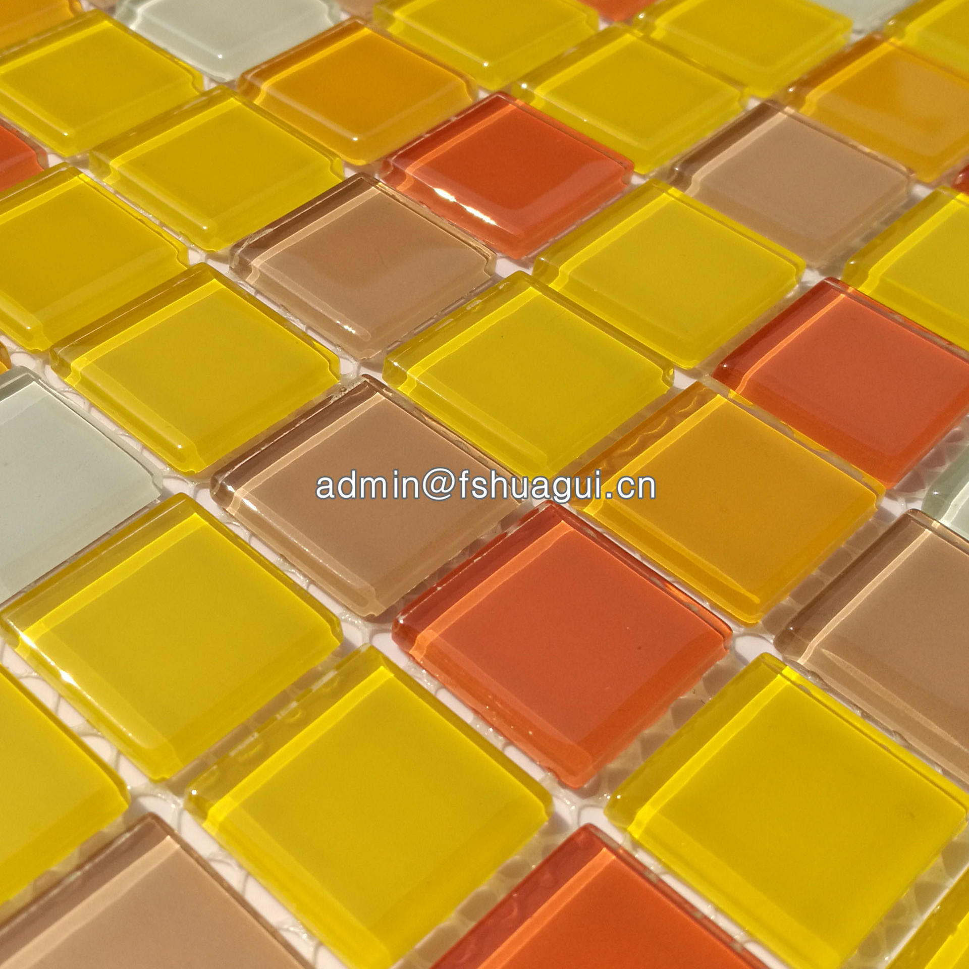 Orange glass mosaic tile design for small bathrooms