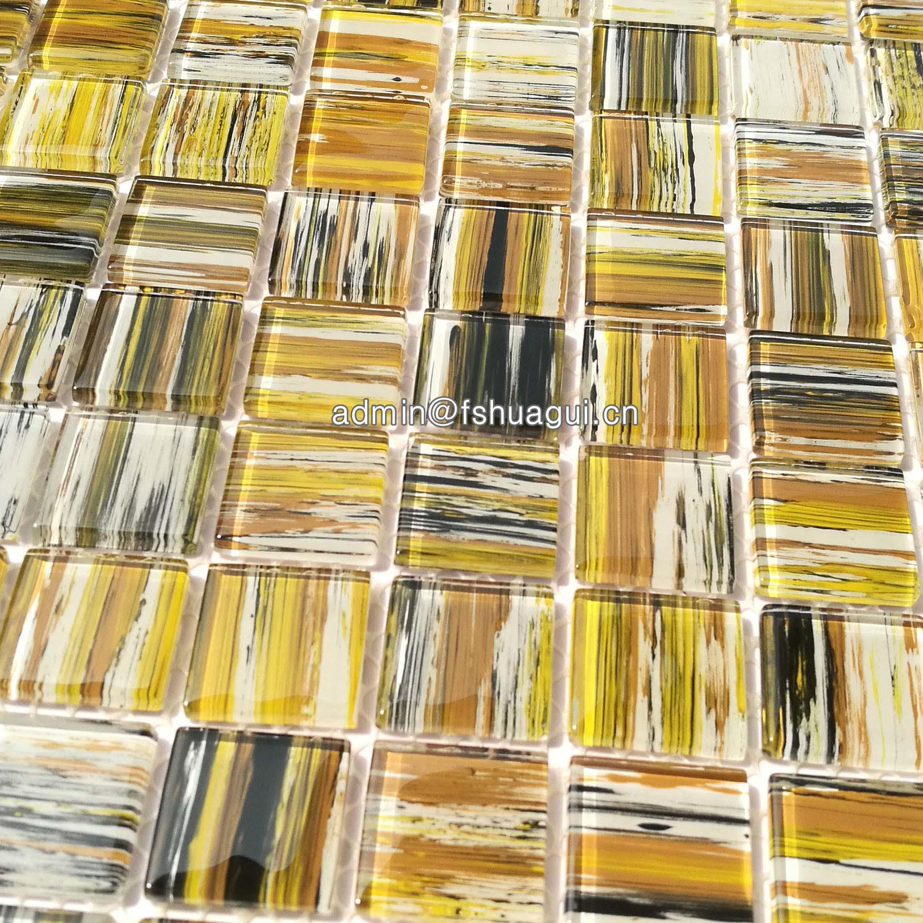Yellow hand painted glass mosaic tile artwork for home decoration