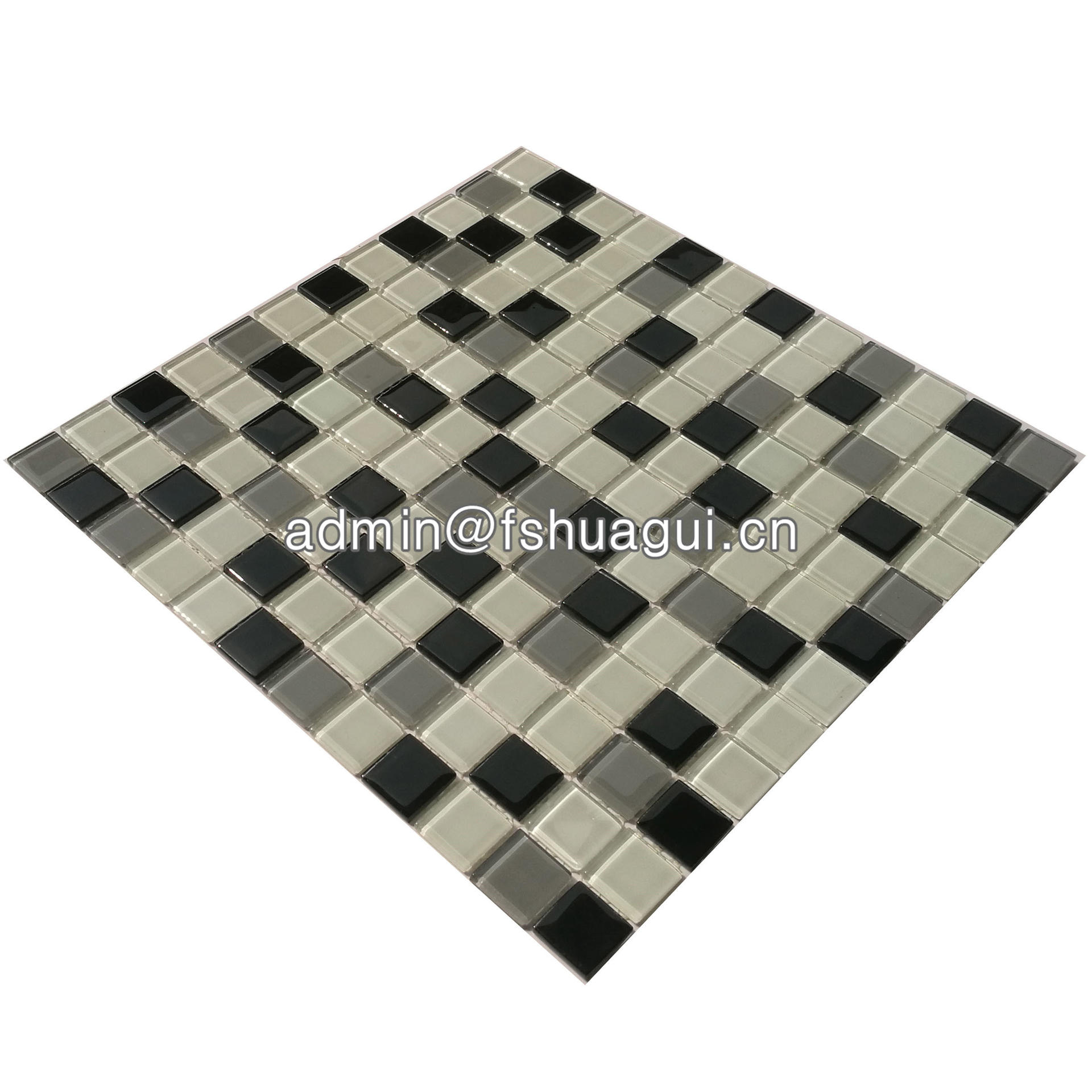 Black and white glass mosaic tile design for backsplash walls HG-15-6