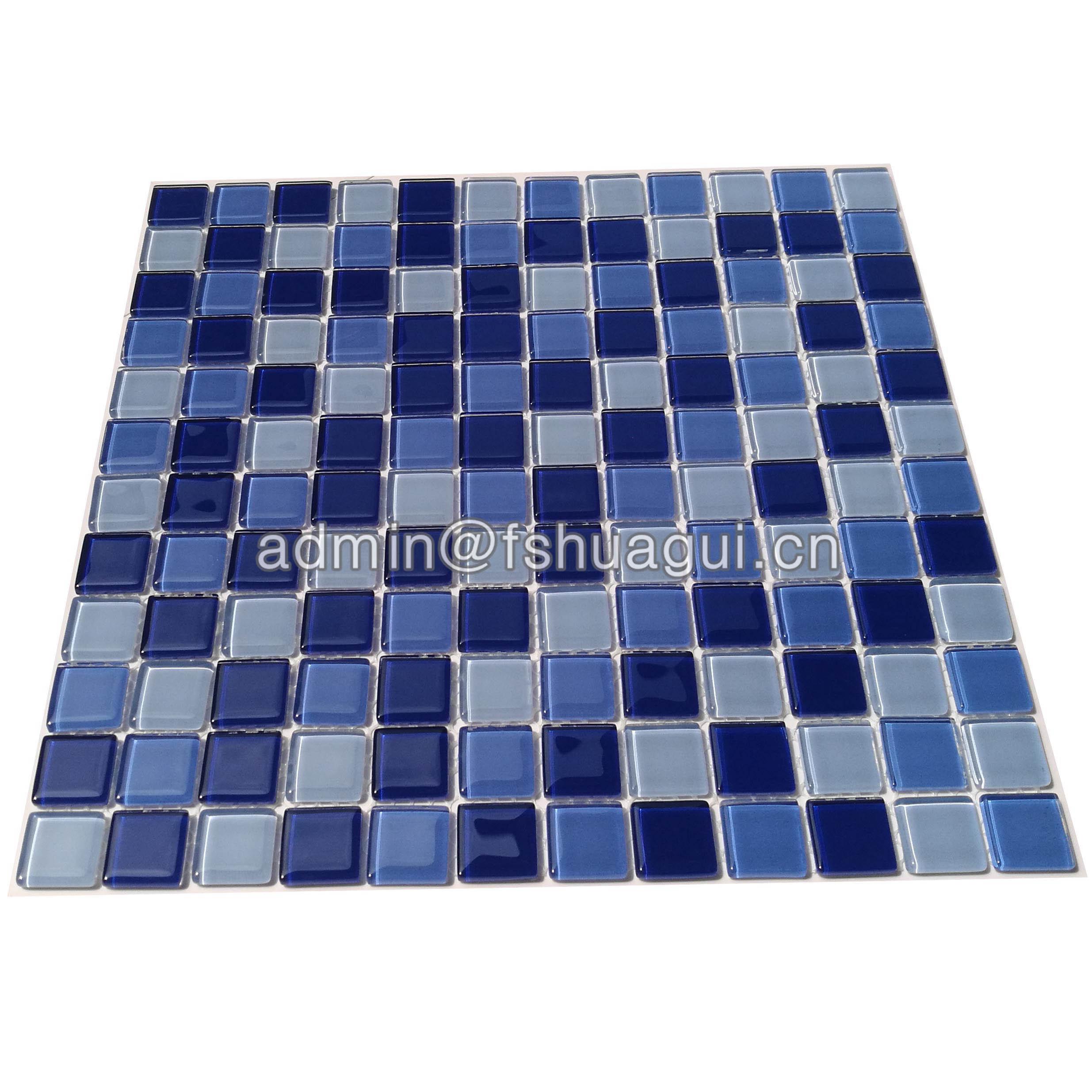 Huagui Popular blue ocean glass mosaic swimming pool tile Florida  HG-423010 GLASS MOSAIC TILE image3