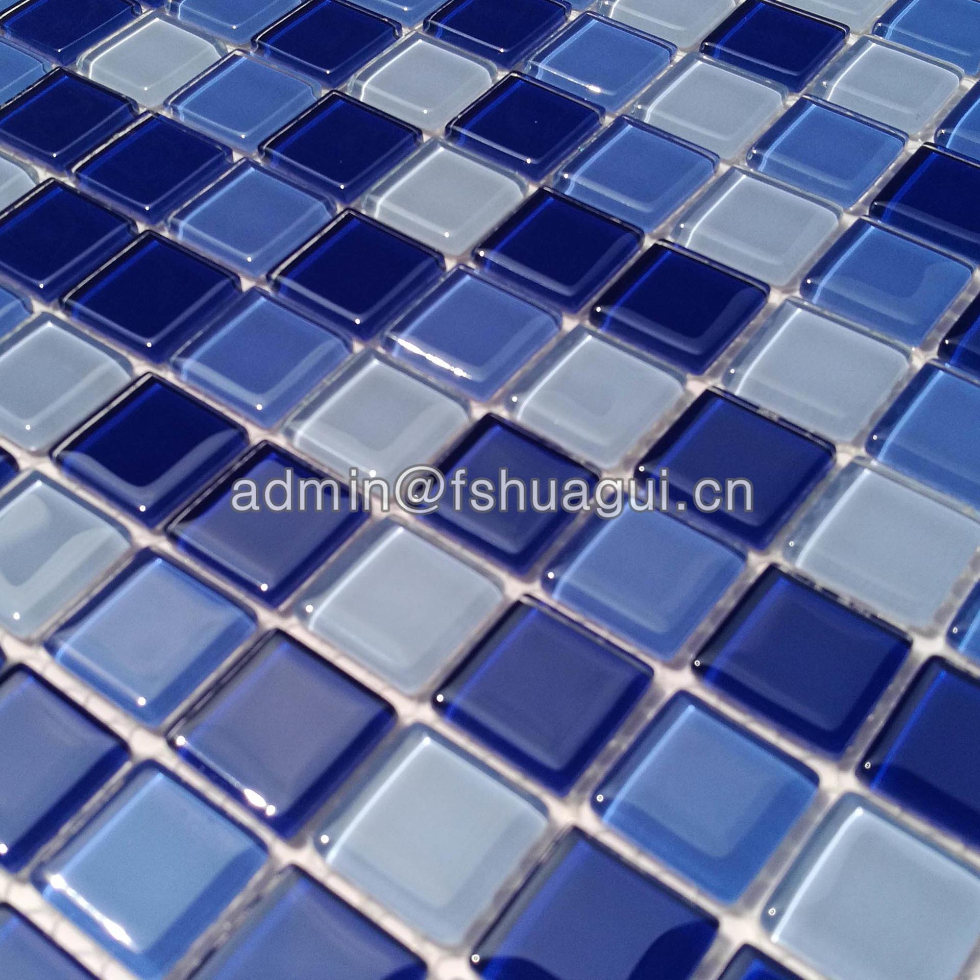 Popular blue ocean glass mosaic swimming pool tile Florida  HG-423010