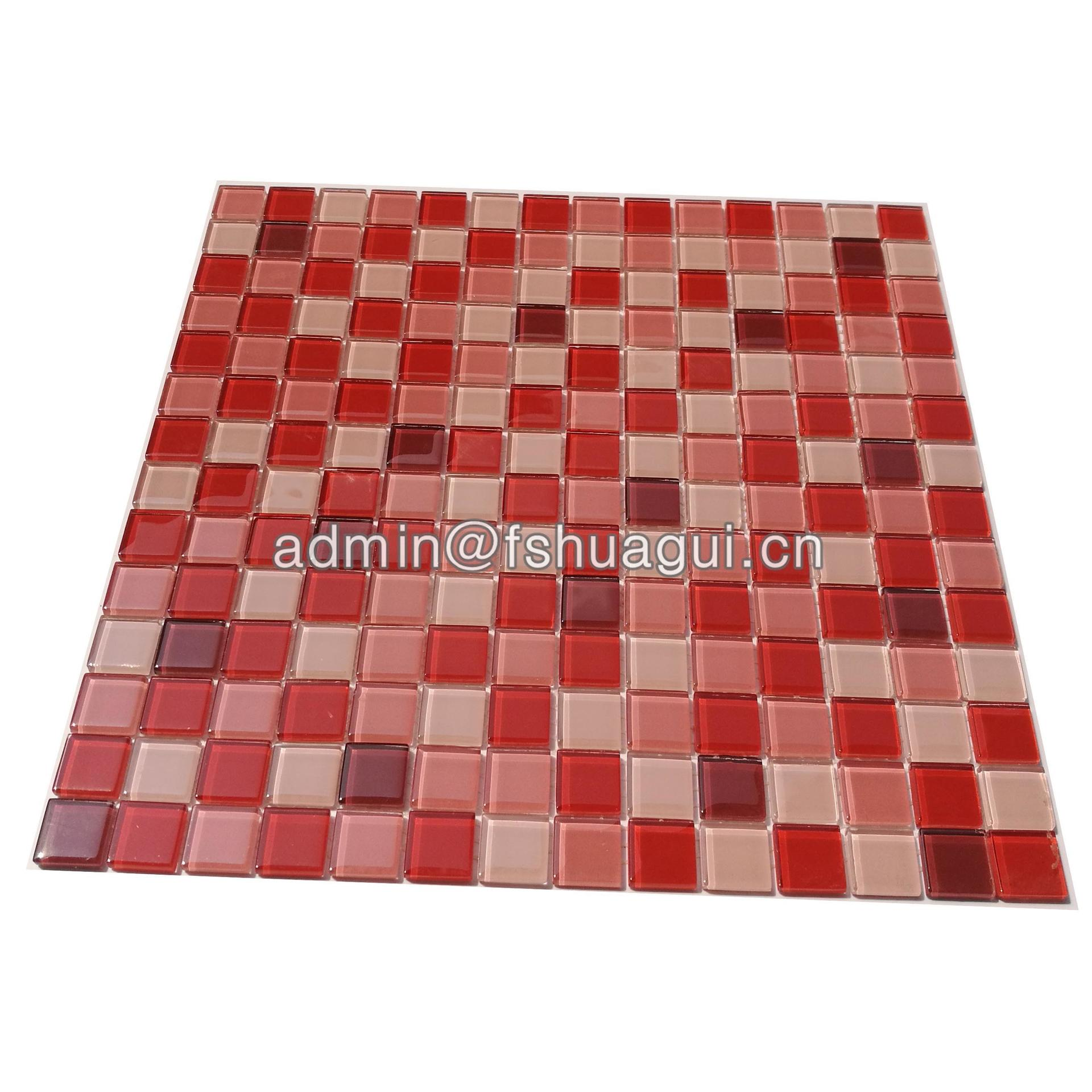 Red color 2cm glass mosaic tiles for kitchen wall HG-KC42001A