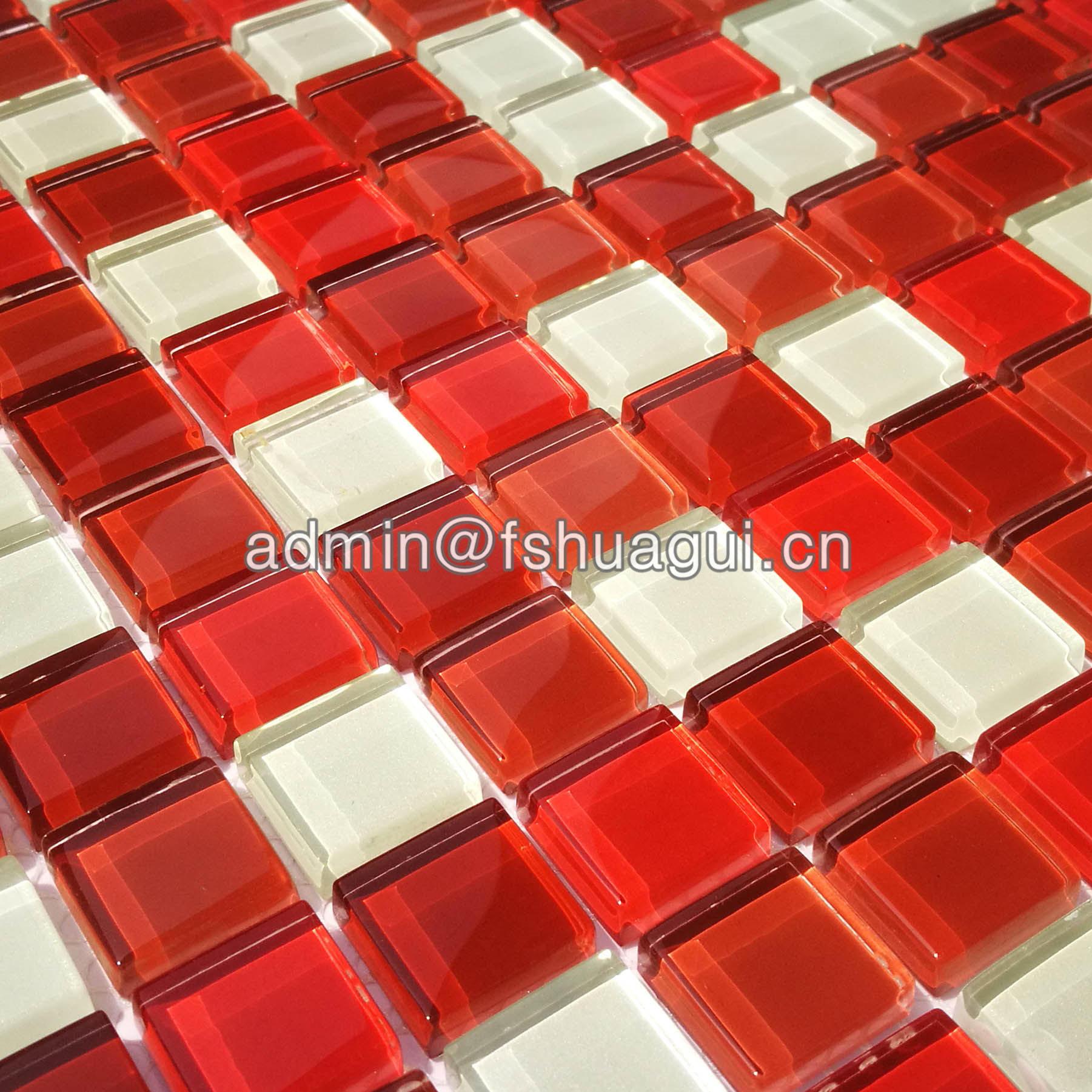 Abbott random sized glass mosaic tile in multi-red HG-LP82301