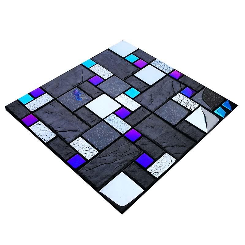 Iridescent glass and imitation stone mosaic tile HG-8809