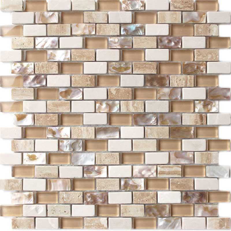 Cream glass mix mother of pearl shell mosaic bathroom tile  HG-BF004