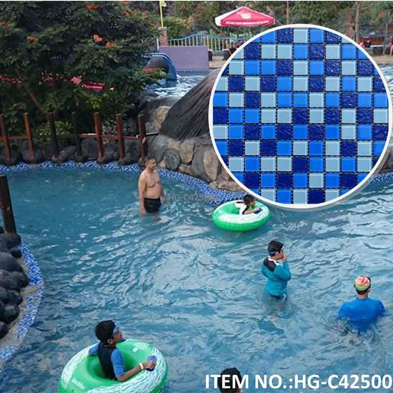 Blue Swimming pool glass mosaic tile HG-C425001A