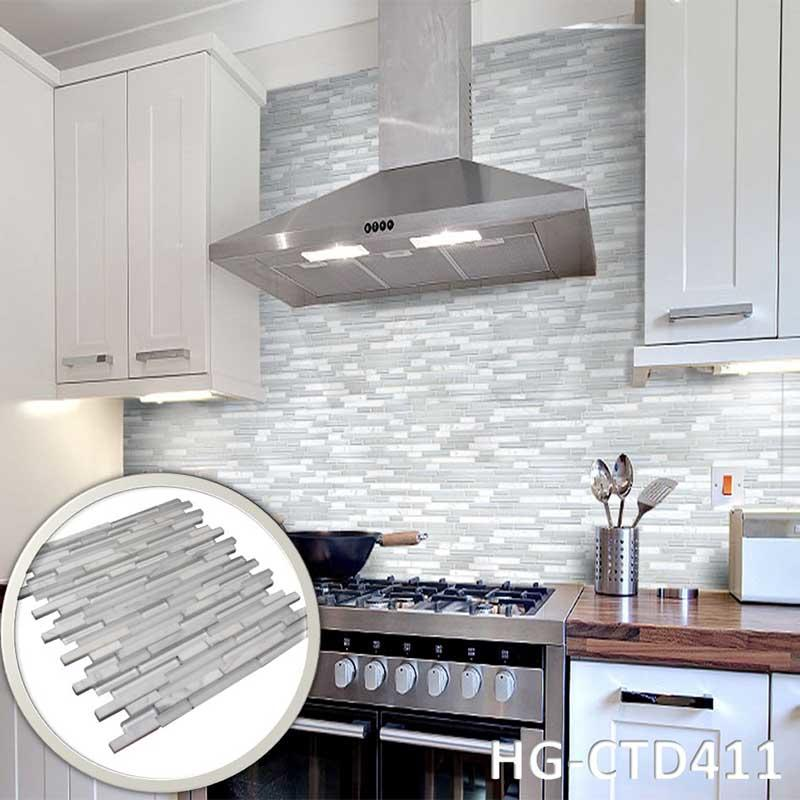 White kitchen background Glass marble mosaic tile  HG-CDT411