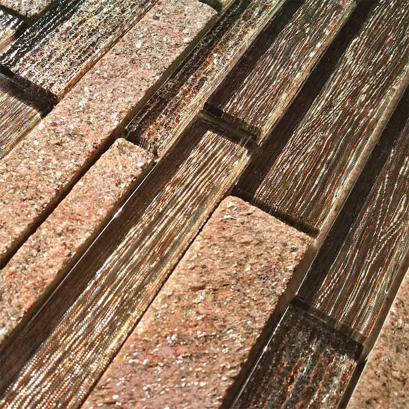 Beige glass slate mosaic tile for luxury villa interior  HG-CDT678