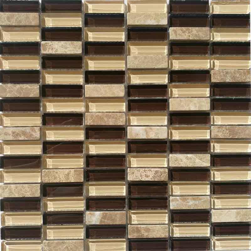 Emperador marble mix glass mosaic tiles kitchen wall backsplash  HG-ES003