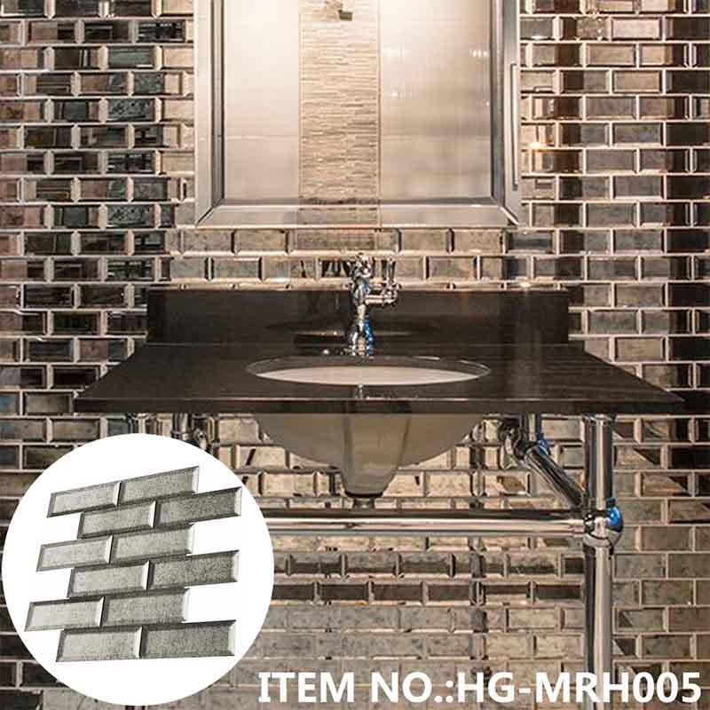 2x6 silver antique mirror glass subway beveled tile  HG-MRH005