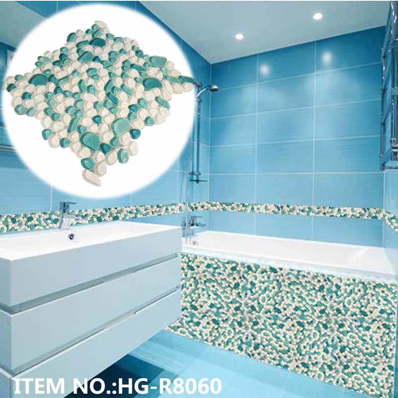 River rock pebbles glass bathtub mosaic tile for shower room  HG-R8060