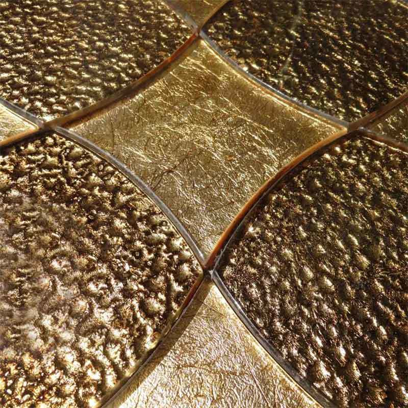 Brown Gold Glass Mosaic Wall Tiles Backsplash  HG-WJ012