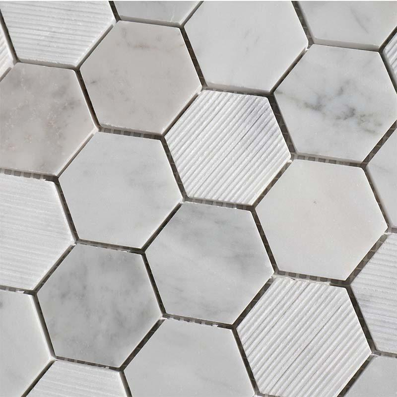 Carrara honeycomb marble mosaic backsplash tile  HG-WJST008