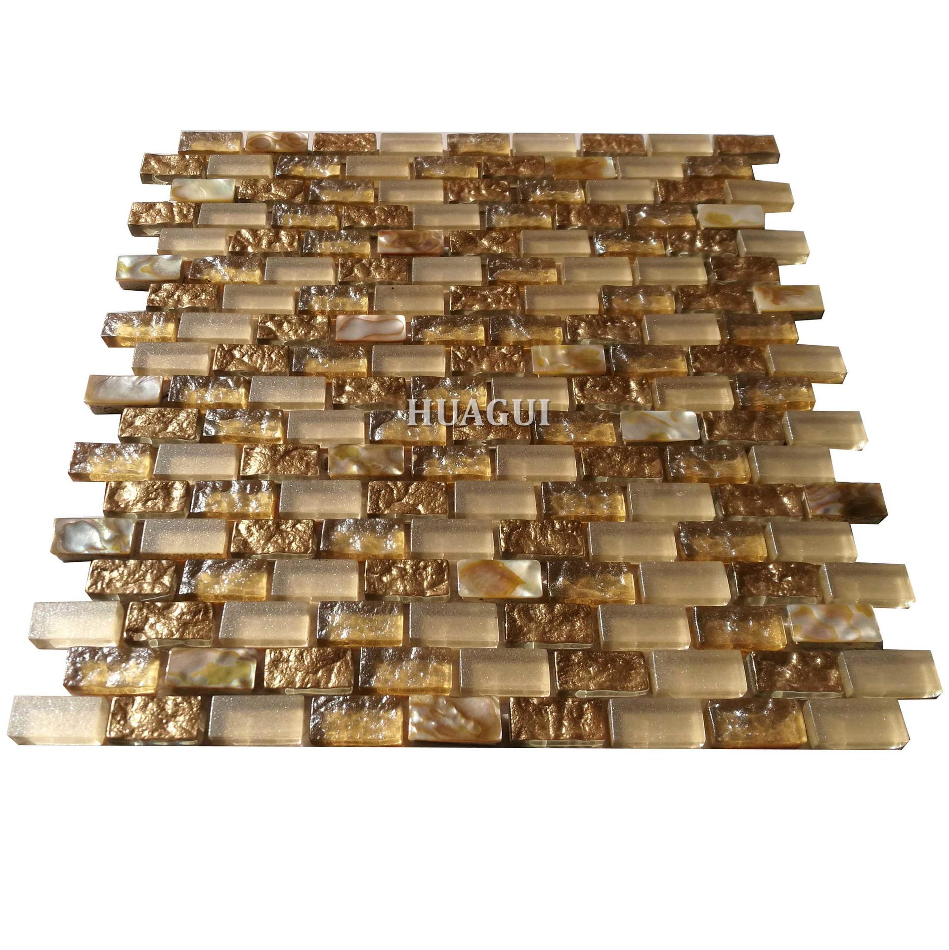 Modern  kitchen backsplash glass mix shell mosaic wall tiles on sale