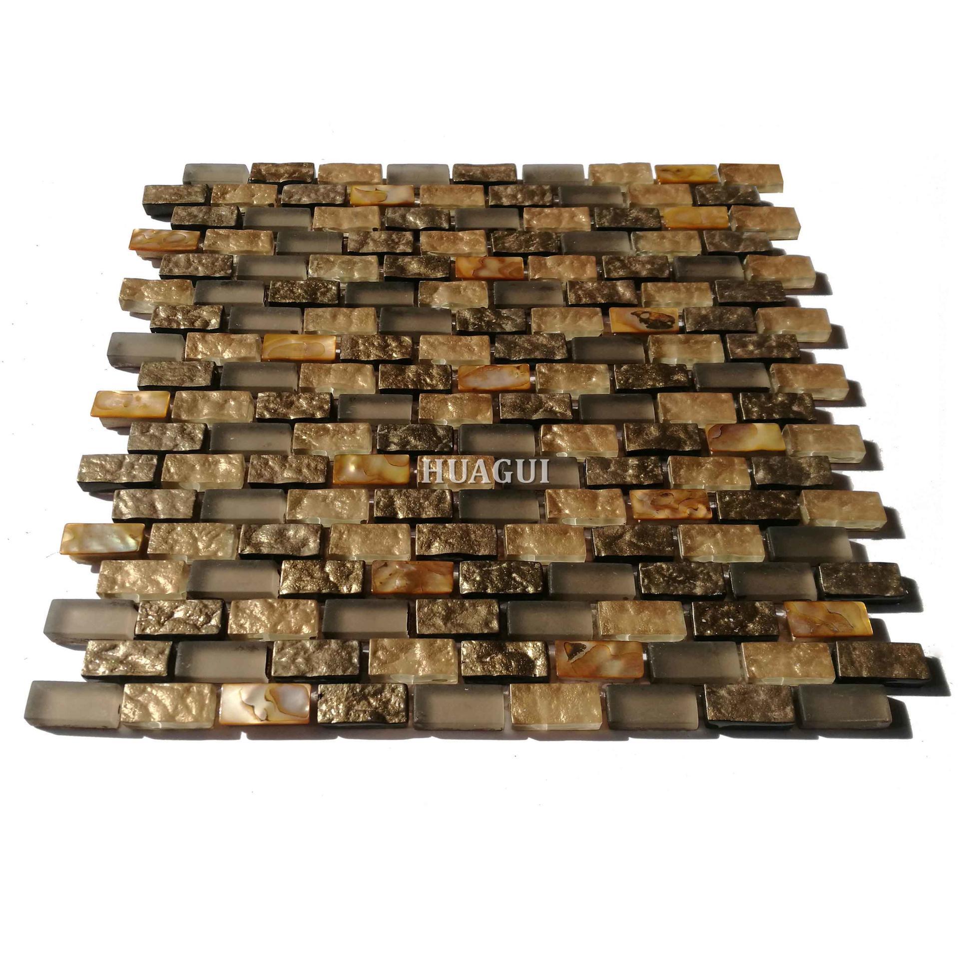Gold mother of pearl glass mosaic kitchen backsplash tile