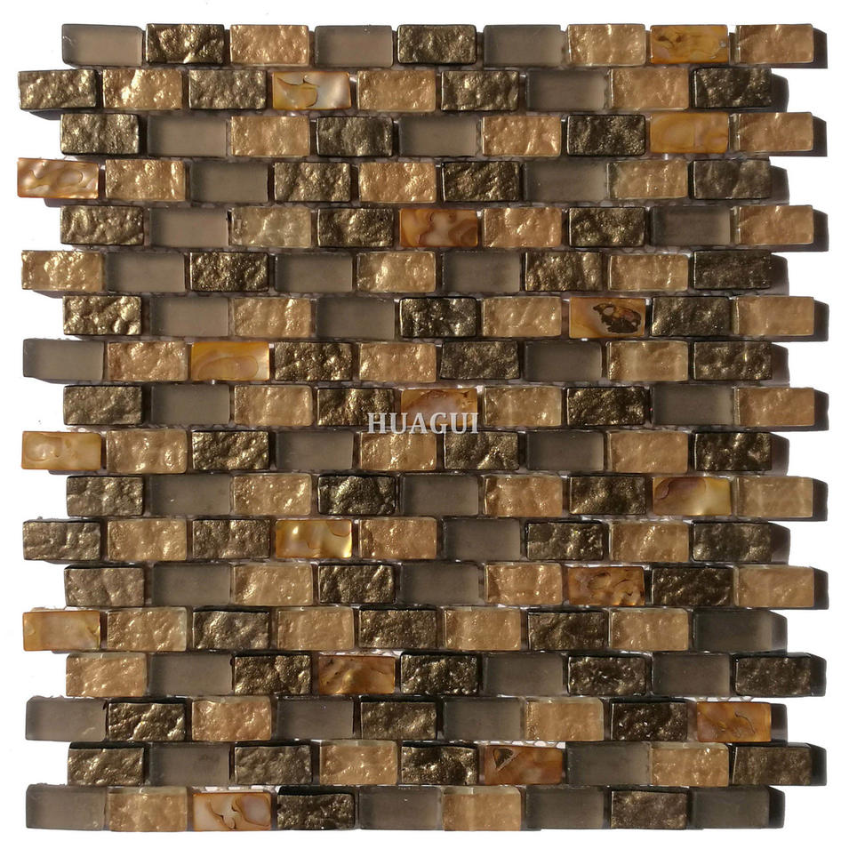 Gold mother of pearl glass mosaic kitchen backsplash tile