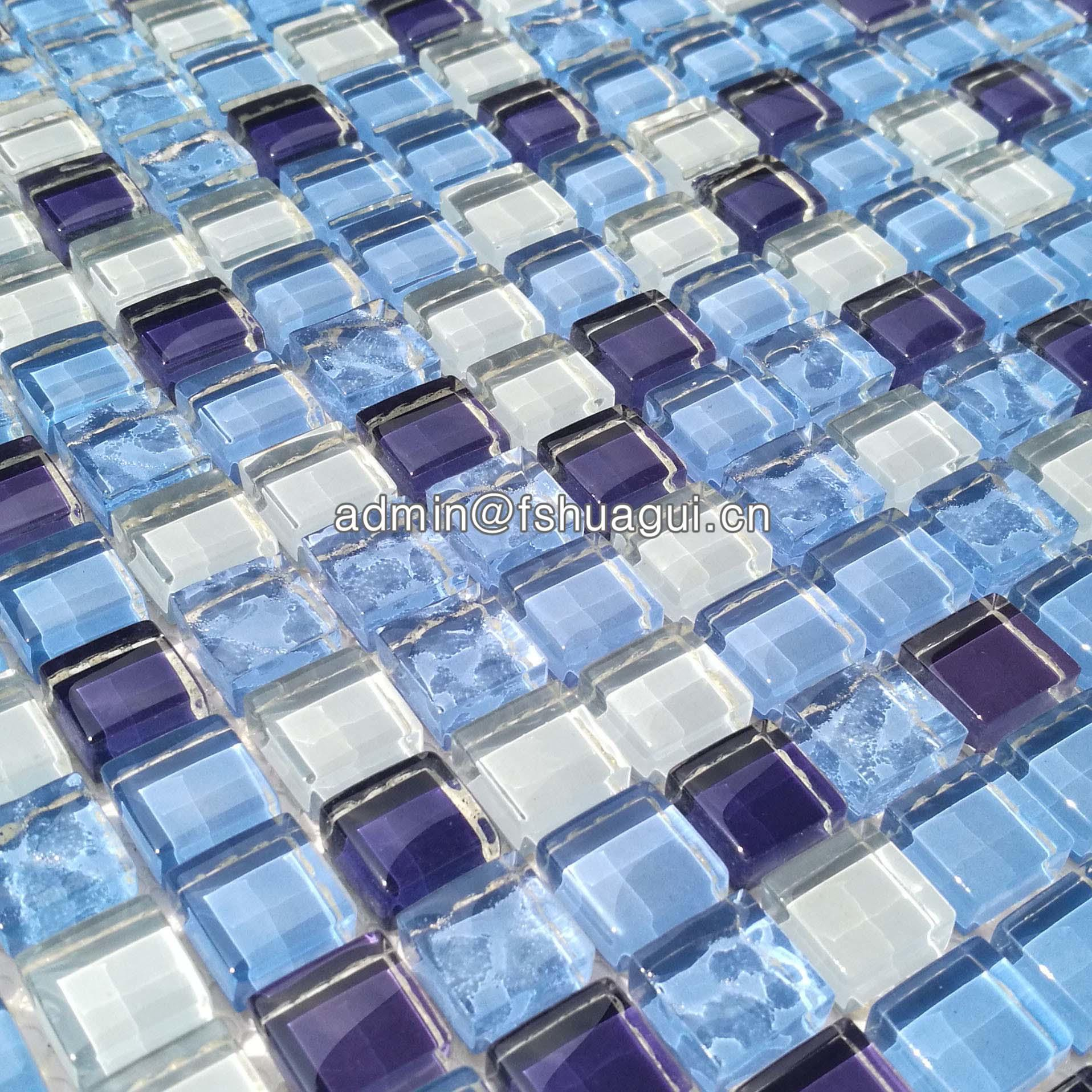 Crystal glass blue glass mosaic for swimming pool tile