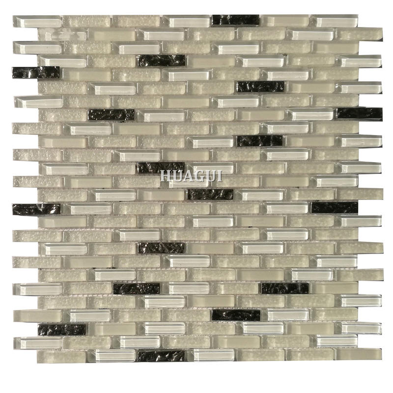Elegant style white glass mosaic patterns splashback tile for kitchen from China