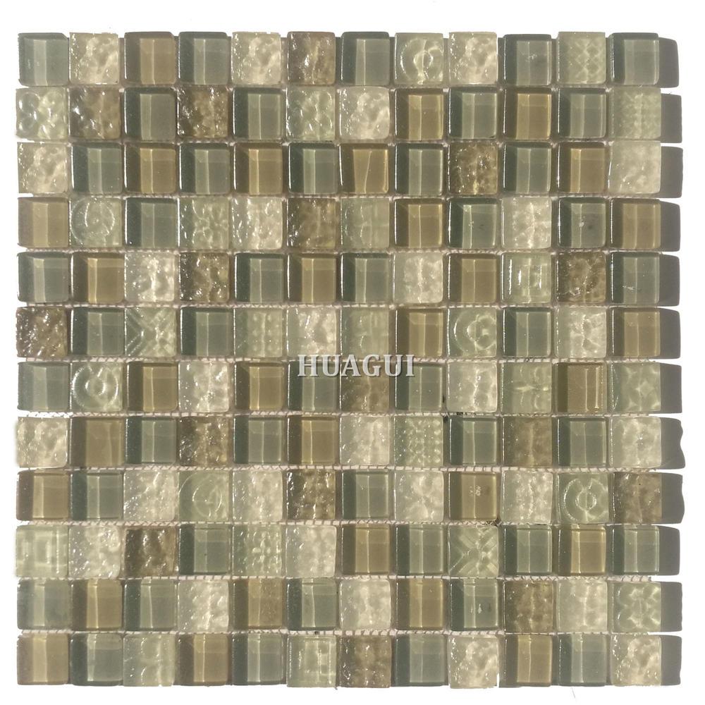 Modern special design gray glass mosaic bathroom backsplash tile for sale