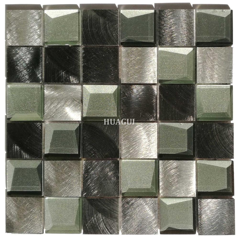 Factory price black and white backsplash 3D glass aluminum wall mosaic tile