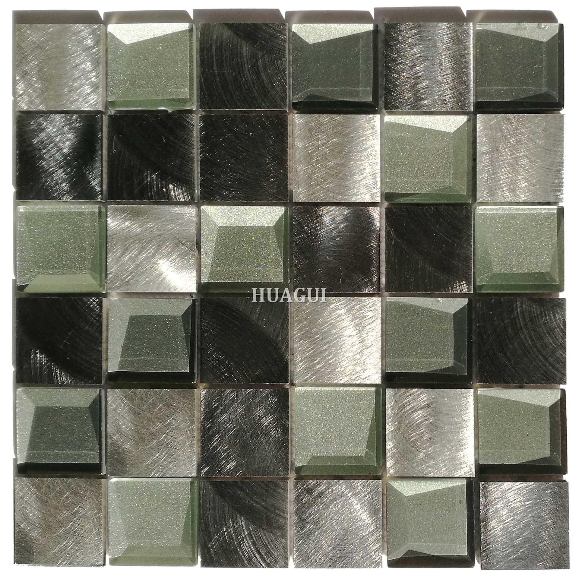 Factory price black and white backsplash 3D glass aluminum wall mosaic tile