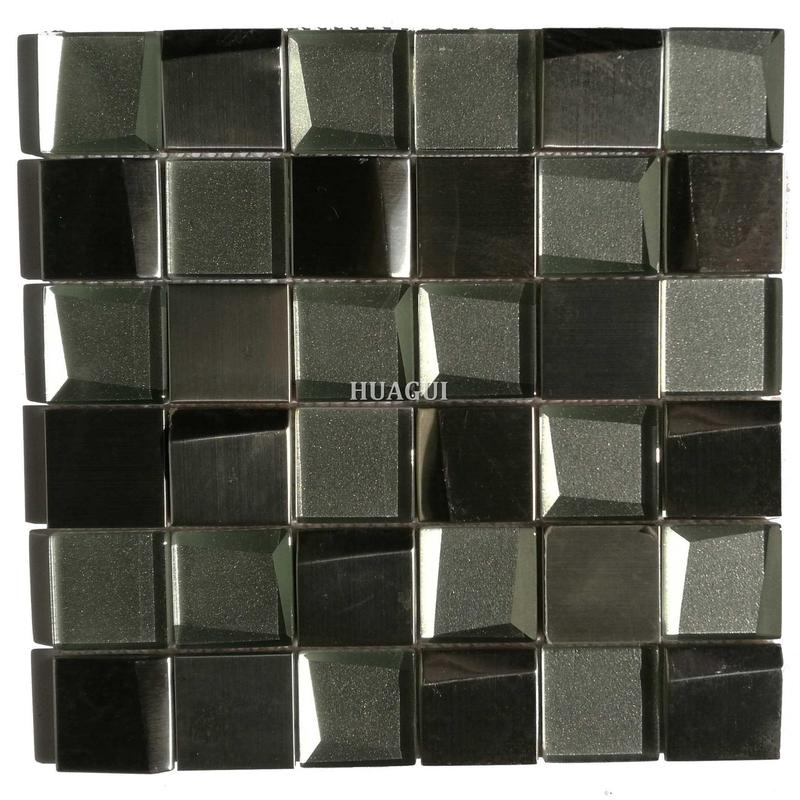 Square brown unique beveled glass mosaic mix metal tile in UK