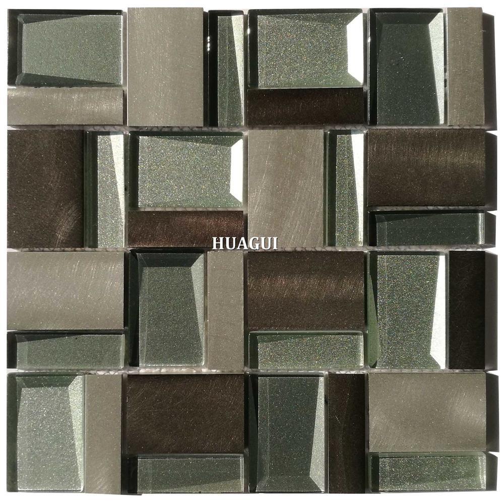 3d beveled glass and aluminum mosaic tile backsplash manufacturers of China