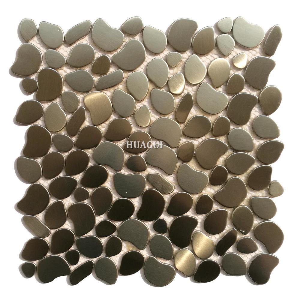 Modern river rock pattern stainless steel mosaic tile  kitchen backsplash wall