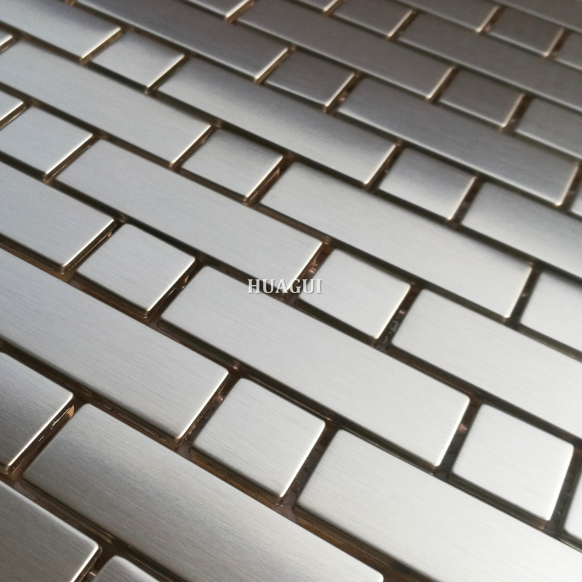 Grey strips brushed stainless steel mosaic tiles backsplash