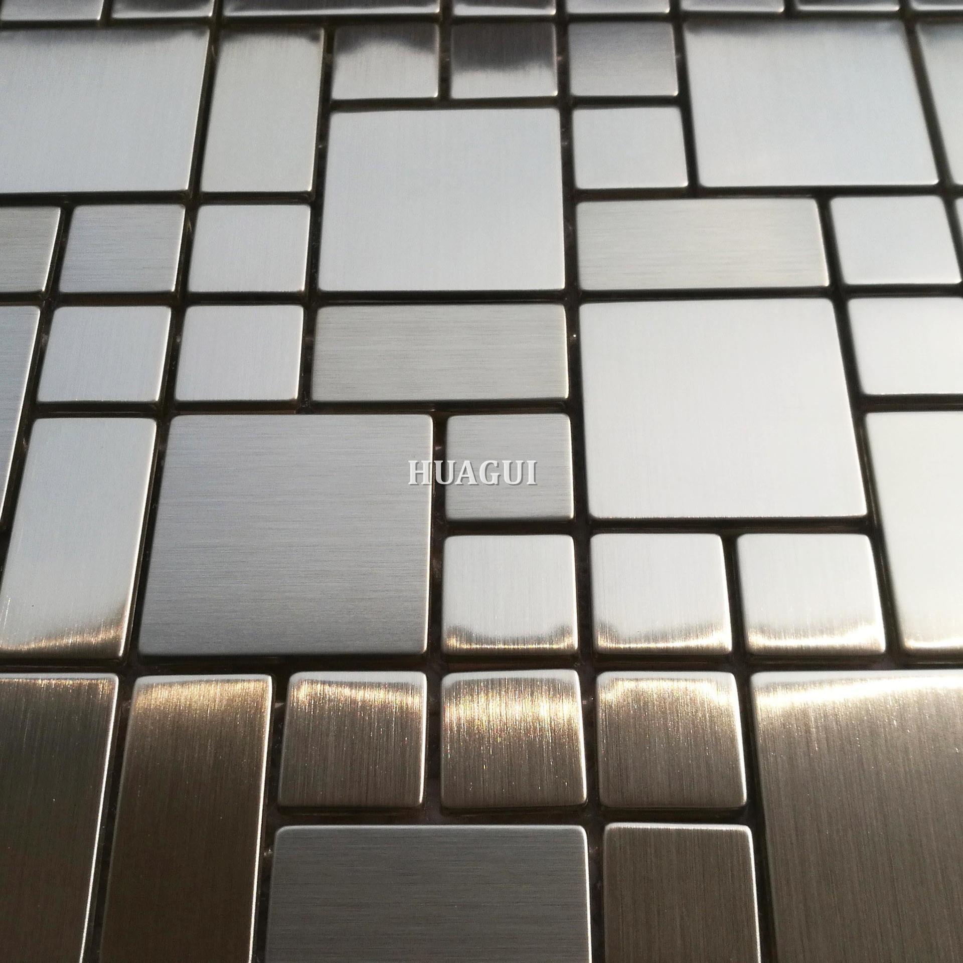 Stainless steel brick mosaic metal wall backsplash tile for sale