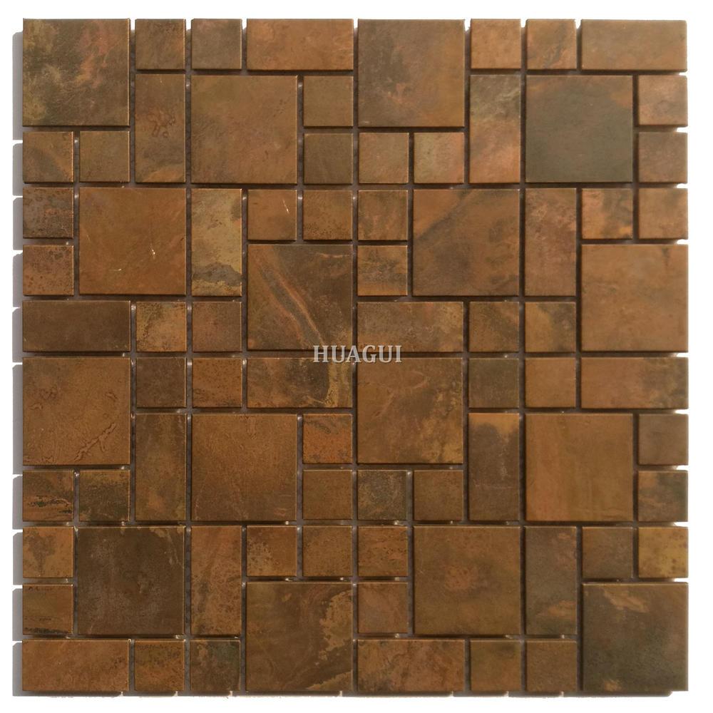 Bronze style luxury golden copper mosaic kitchen wall tile