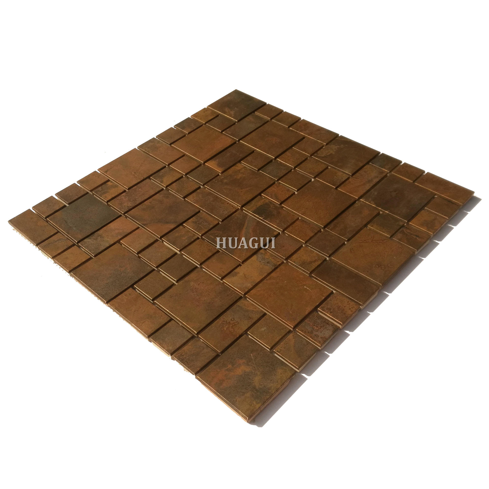 Bronze style luxury golden copper mosaic kitchen wall tile
