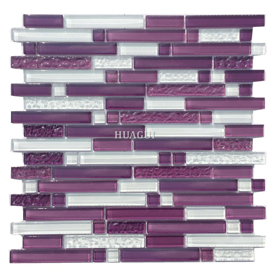 Purple crystal glass mosaic with frosred tile backsplash wall