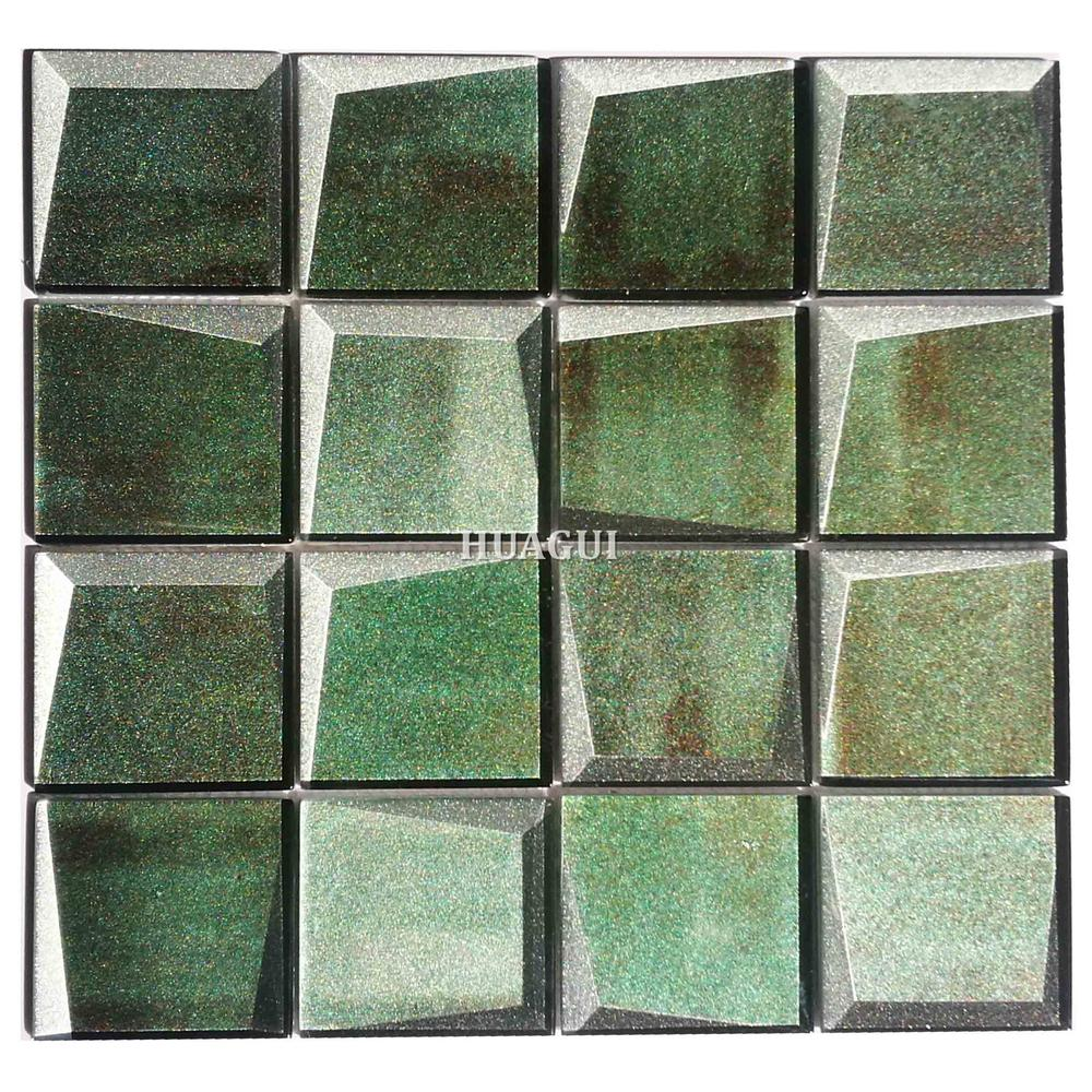 Green glass 3D mosaic tile kitchen backsplash tile Toronto