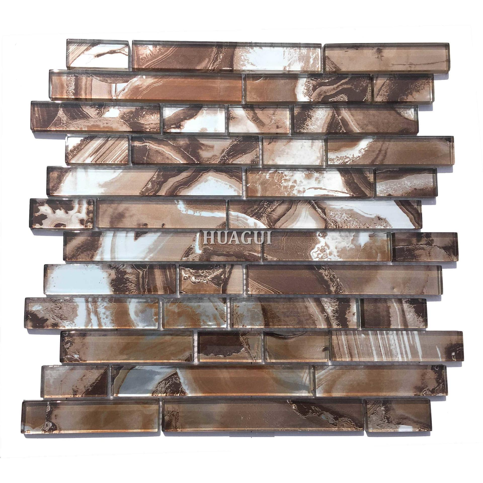 Brown glass mosaic tile for modern kitchen backsplash tile
