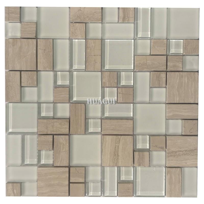 White crystal and stone mosaic square backsplash on sale