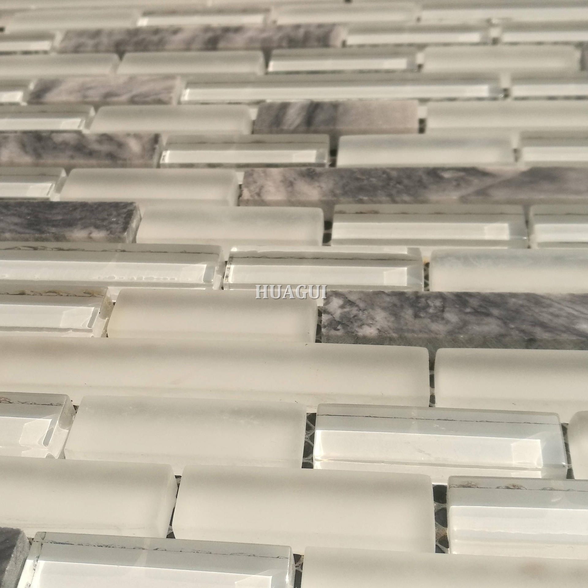 Cream color glass mix marble mosaic linear tiles