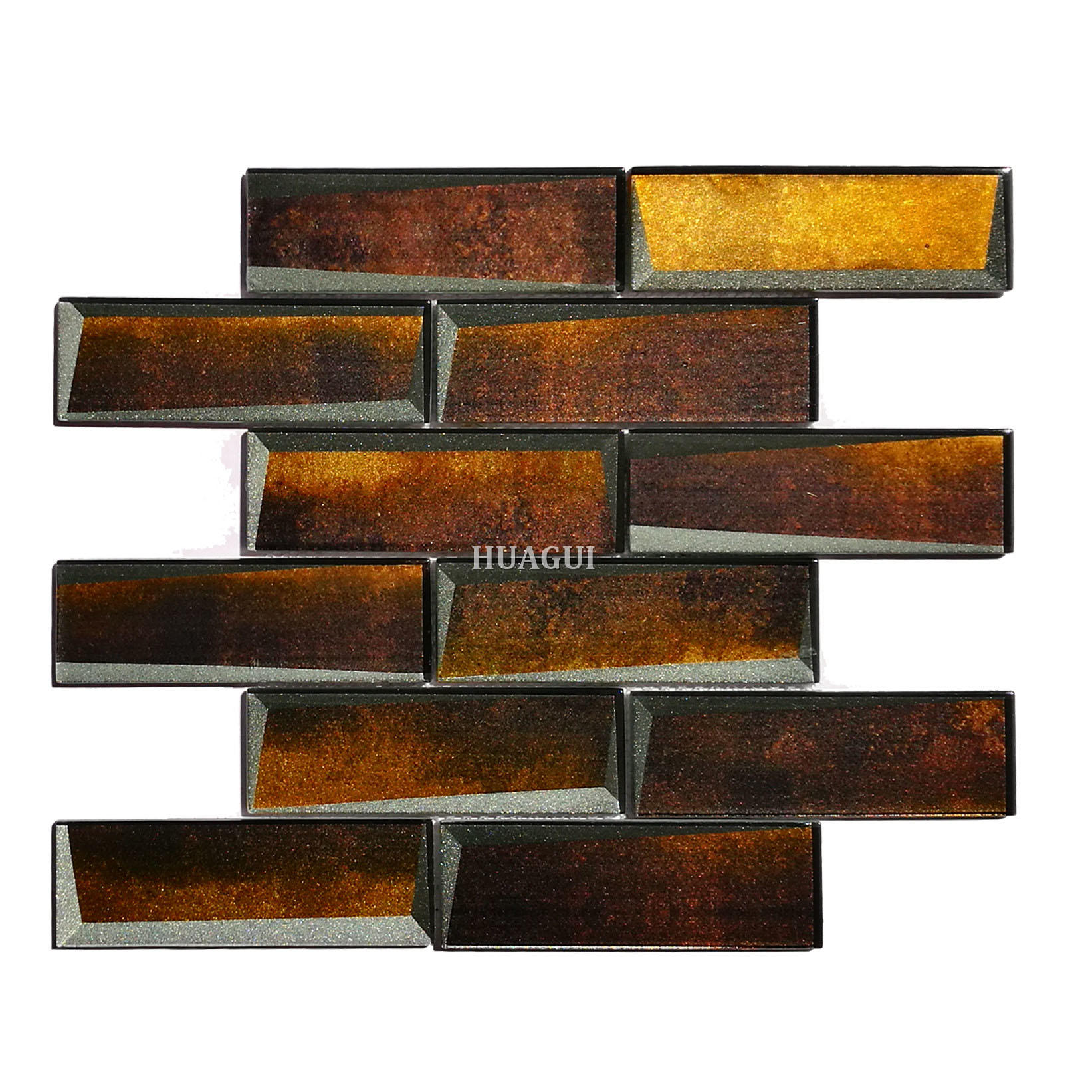 Luxury glass 3D effect subway tile for kitchen wall design