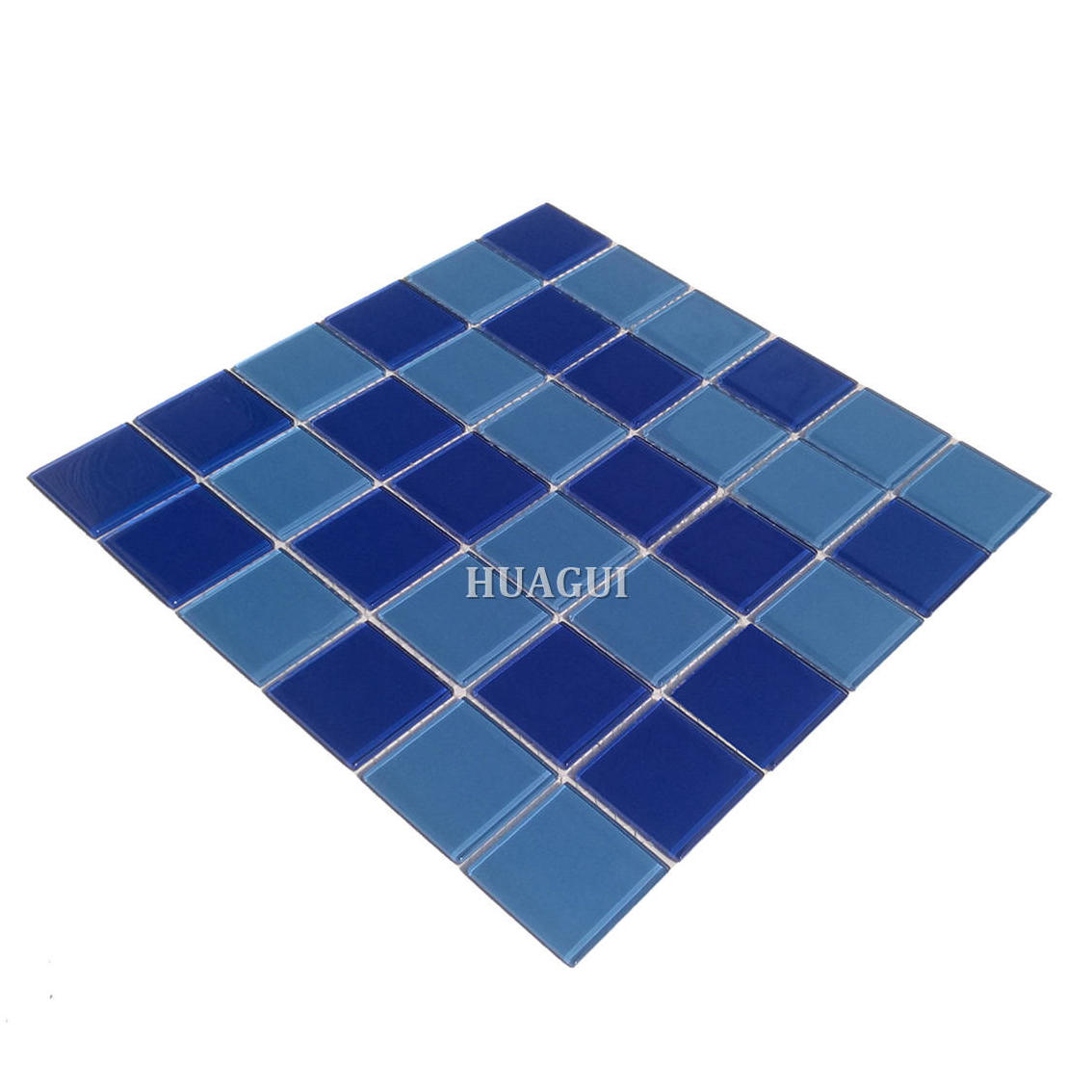 Blue glass mosaic tile for swimming pools from China factory