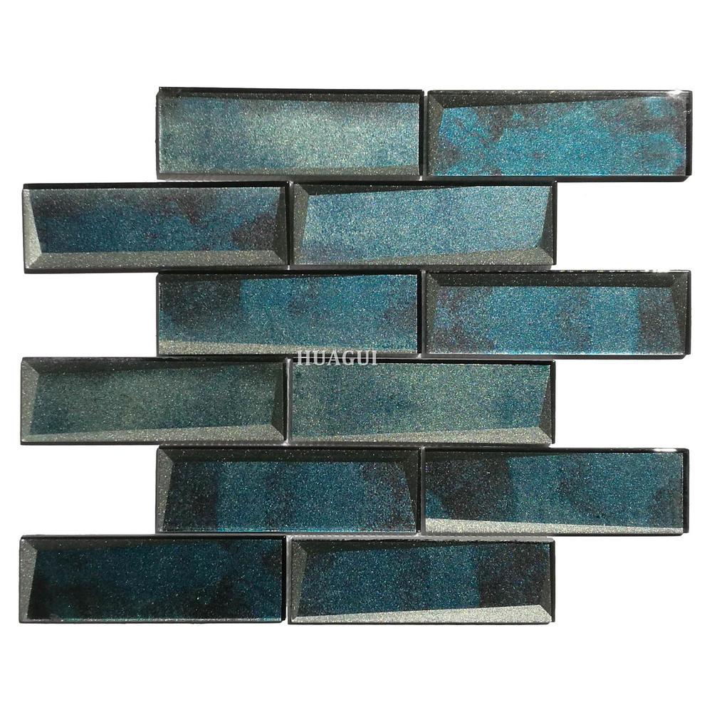 Manufacturer 3D art wall blue glass subway tile backsplash