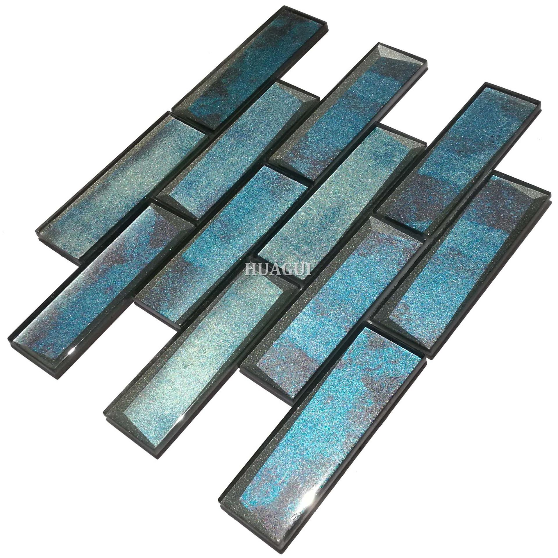 Manufacturer 3D art wall blue glass subway tile backsplash