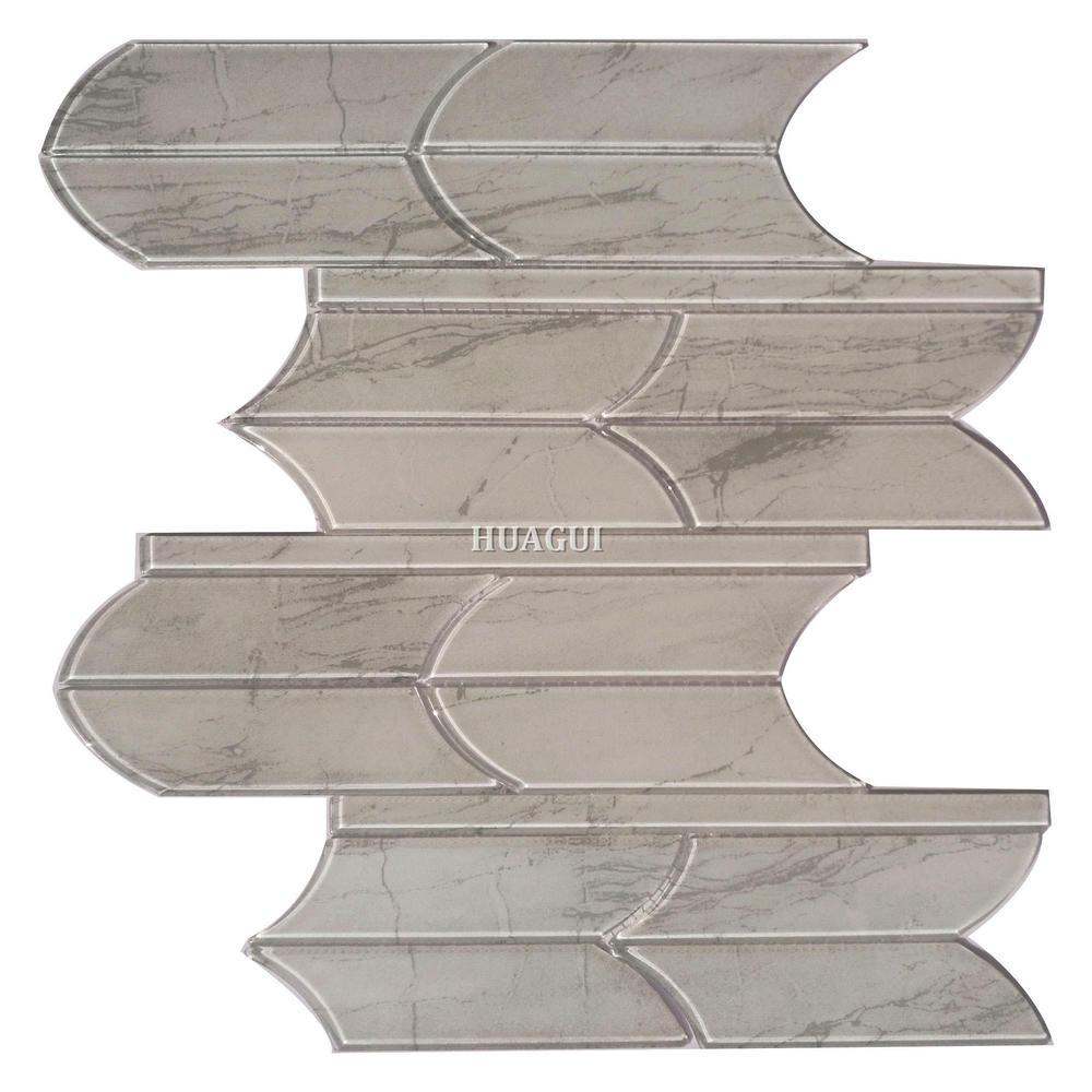 Unique water jet grey glass mosaic tile designs backsplash