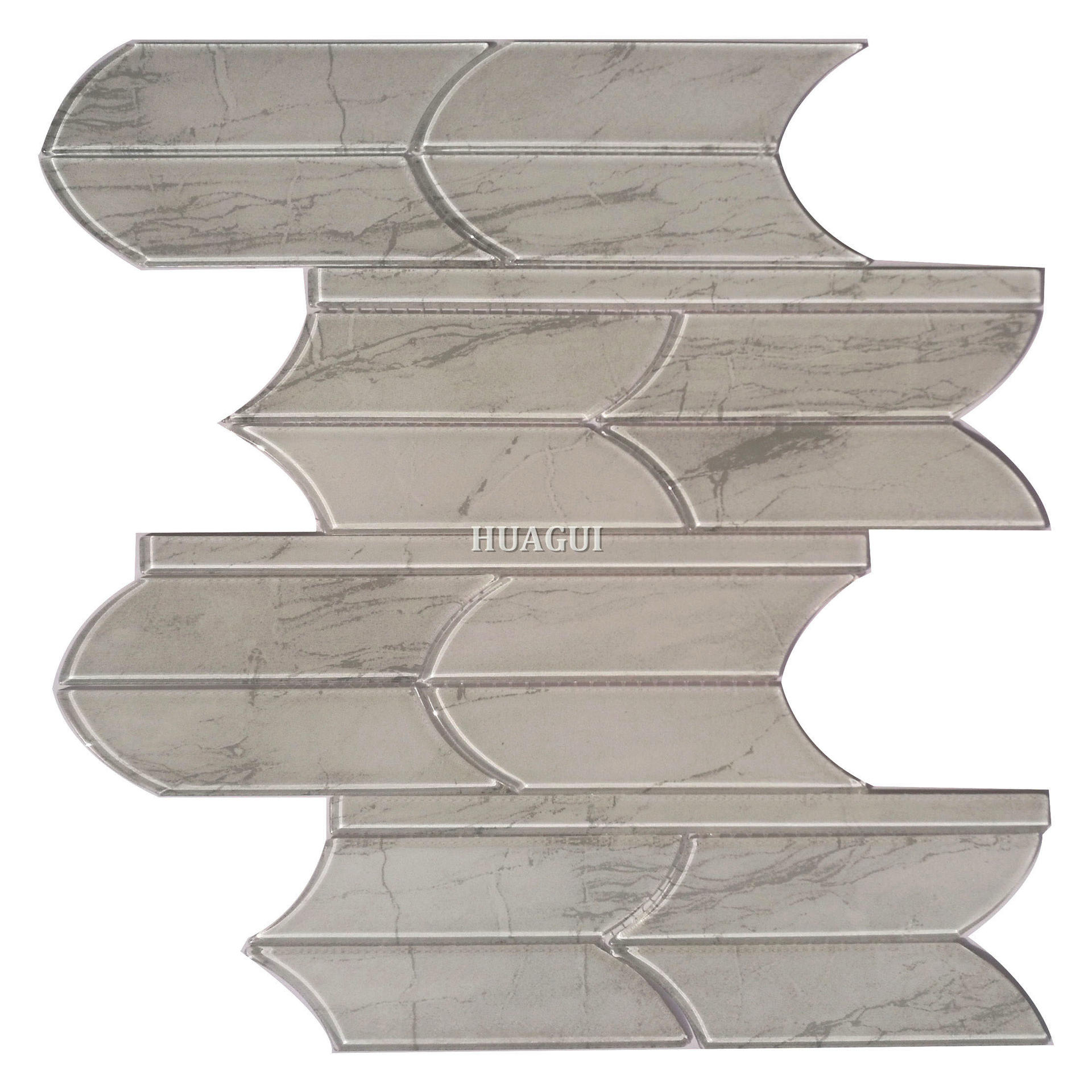 Unique water jet grey glass mosaic tile designs backsplash