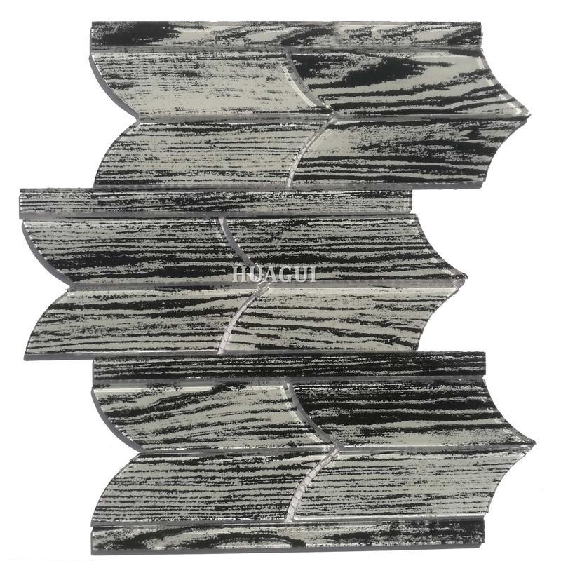 Atlanta black unique shapes glossy glass mosaic tile