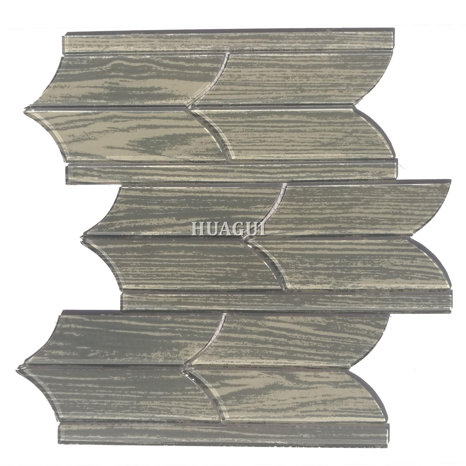 Polished tile of irregular grey glass mosaic backsplash