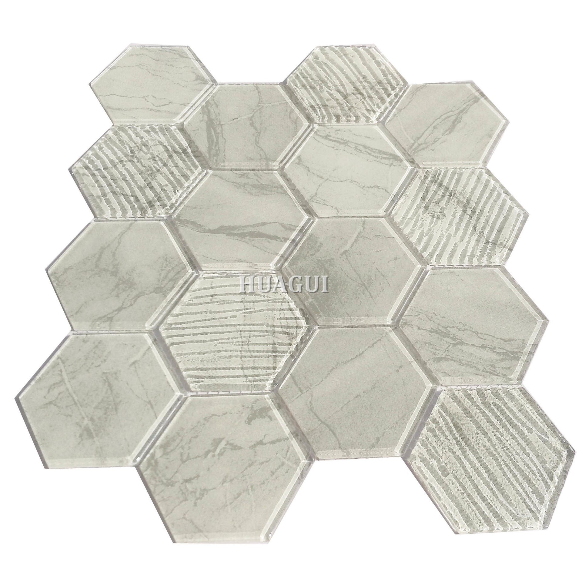 3 inch x 3inch glass hexagon mosaic in cream and grey beveled pattern